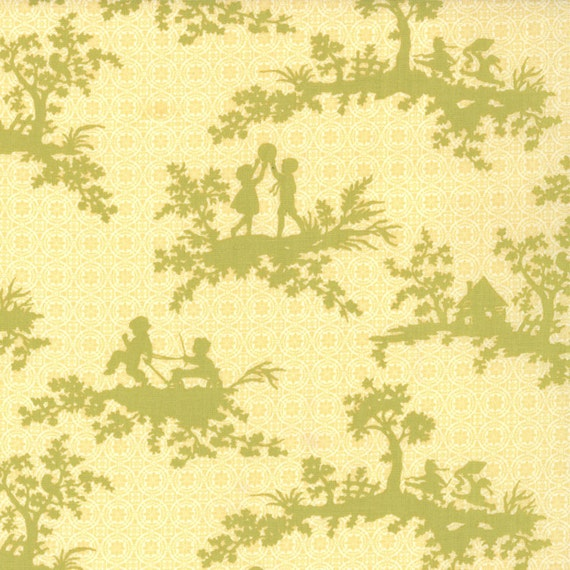 SALE - California Girl - Playtime Toile in Sunshine: sku 20181-11 cotton quilting fabric by Fig Tree for Moda Fabrics - 1 yard