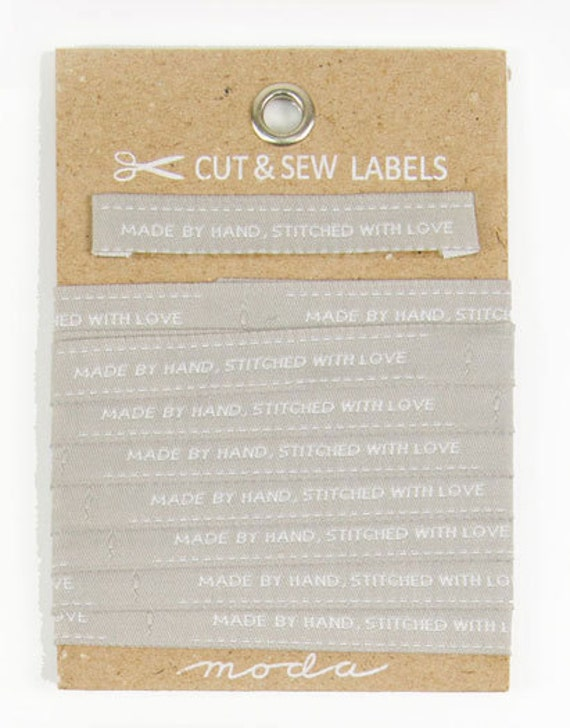 Made by Hand, Stitched with Love - Sew in Labels from Moda Fabrics - 3 yards per card