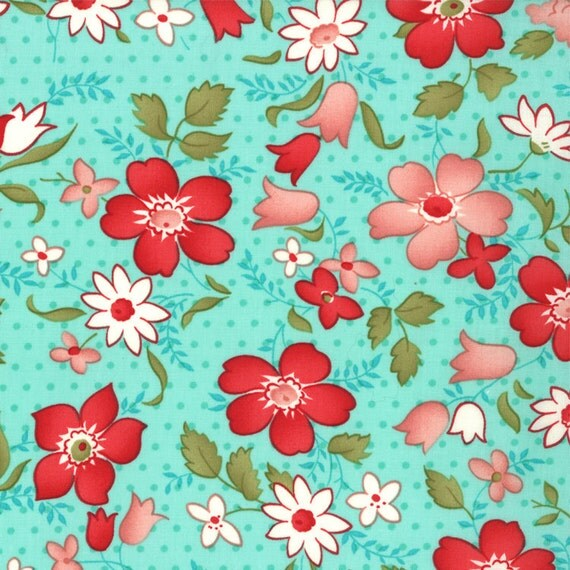 """30"""" piece/remnant - Vintage Modern - Vintage Floral in Sky/Aqua: sku 55040-11 cotton quilting fabric by Bonnie and Camille for Moda"""