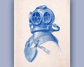 Diver Helmet Print,  Vintage image scuba diving helmet print, blue print,  Marine and  Nautical art,  Coastal Living, Blue print