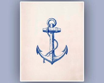 Blue Anchor Print,  Vintage image  print,  Marine  Nautical art,  Mixed Media Collage Print, Coastal Living, Blue print, beach cottage decor