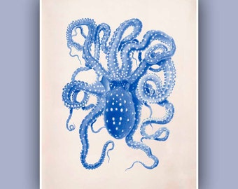 Blue Octopus, Blue nautical Print 2, 8x10 Vintage octopus image, aged paper,  Marine Wall Decor, Nautical art, Coastal Living
