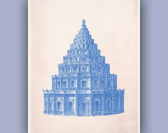 Alexandria Old  Lighthouse Print, in blue,  Vintage image  print,   Nautical art,  Mixed Media Collage  Print, Coastal Living, Blue print