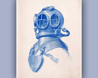 Diver Helmet Print, 11x14 Print,  Vintage image scuba diving helmet print, blue print,  Marine and  Nautical art,  Coastal Living,