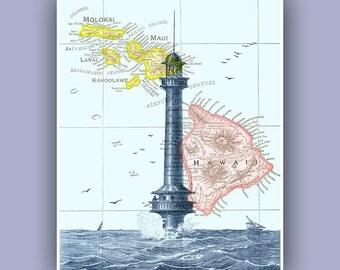 Ocean Lighthouse Print,  Vintage french image  print,  Marine and  Nautical art,  Collage  Print, Coastal  seashore print
