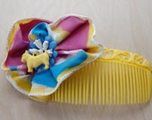 Kitschy Plastic Yellow Hair Comb with Handpainted Flower and Scotty Charm