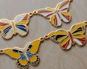 6 Retro Metal Butterfly Pendants