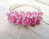 Pink Tourmaline Ring - Sterling Silver Cocktail Rings