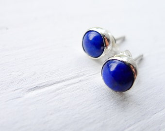Lapis Lazuli Earrings - Deep Midnight Blue Posts - Minimalist Earring