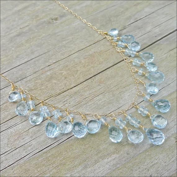 Swiss Blue Topaz Necklace - 14K Gold Necklaces