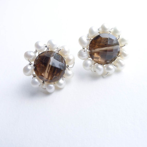 50s Inspired Earrings - Smoky Quartz w/ White Freshwater Pearl Post Earings