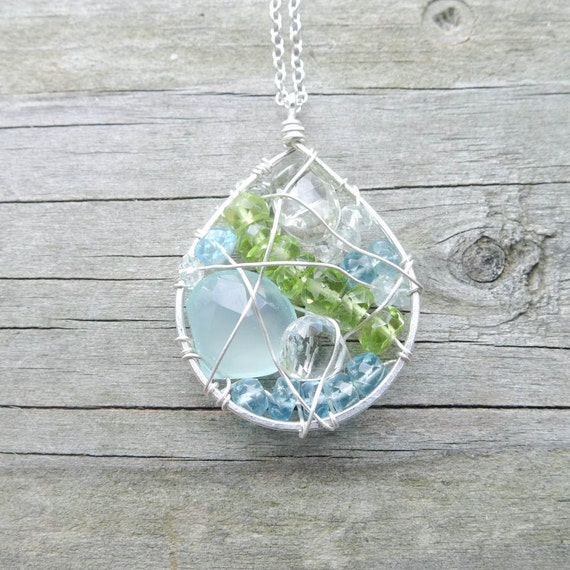 Mosaic Necklace - Aqua Teal Blue and Green Gemstone Teardrop Mini Mosaic Pendant