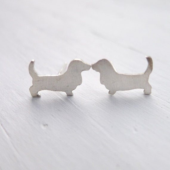 Basset Hound Studs - Sterling Silver Post Earrings