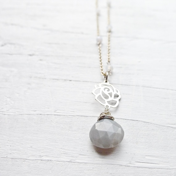Gray Moonstone Necklace w/ Rose