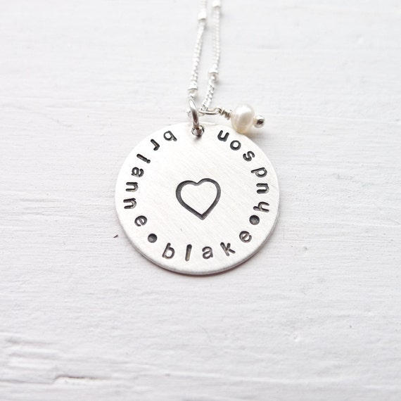 Personalized Jewelry - Mom Necklace Engraved Disc w/ Pearl