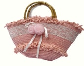 Pink roses salmon peach purse handbag tote with victorian lace satin ribbon and bamboo handles RESERVED LISTING