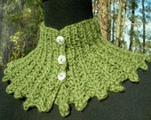 Hand knitted scarf  neckwarmer  scarflette capelet cape moss green