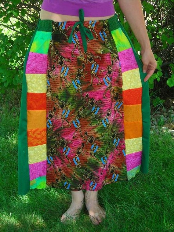 SALE - Tie-dye Tribal patchwork and forest green skirt