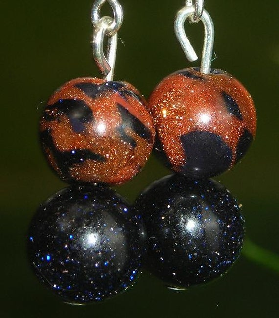 Blue Swirl Goldstone Sterling Silver Earrings