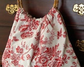 Classic Ring-Handle Tote - Red Toile with Ticking Cotton - For Your Favorite Quilter or Knitter