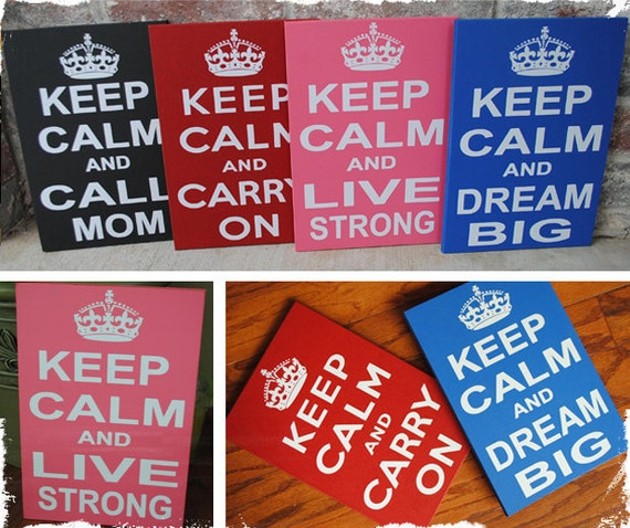 Keep Calm and Carry On, Personalized Keep Calm Wood Sign