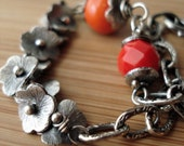 RESERVED for emilyalexis123 \/ Sterling Grapevine Flower Caps and Chain Link Bracelet with Orange and Red Glass Beads