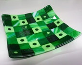 Green Squares Fused Glass Plate