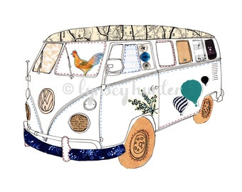 VW Camper Van - Ink and Collage Illustration