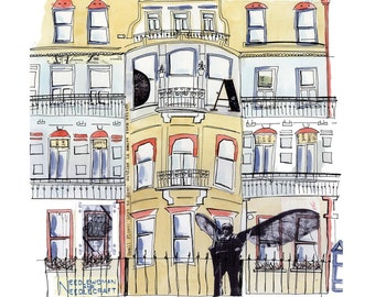 London Town Houses - Ink, watercolour and collage illustration