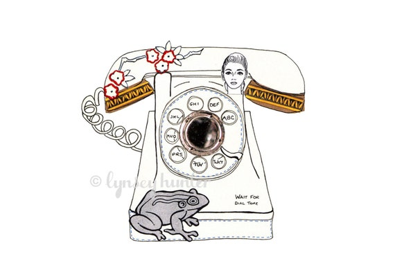 Telephone - Ink and collage illustration