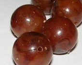 20 - Vintage Lucite Opaque Brown Swirl Beads 15mm