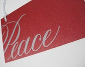 Set of 6, Peace, Letterpress Gift Tags, Silver on Red