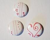 Set of 3 - Love Fizz - Letterpress 1 inch Buttons - version one