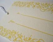 Set of 6, Sunshiny, Letterpress Gift Tags
