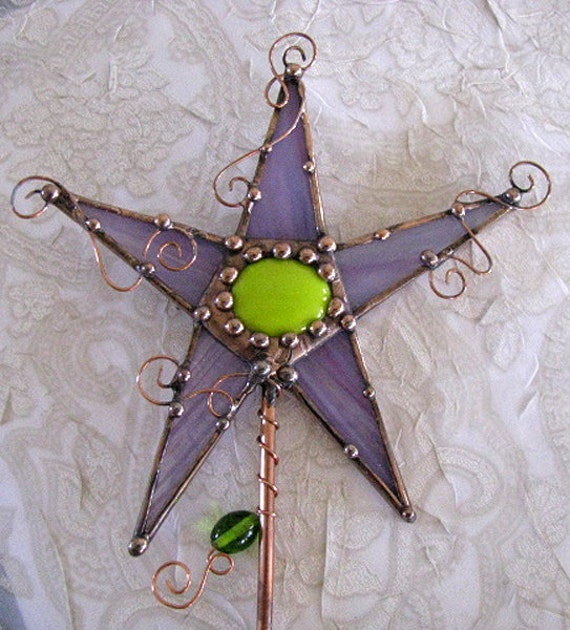 Purple lime green stained glass magic wand copper art garden stake plant