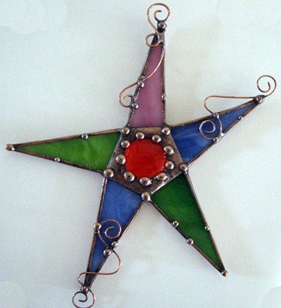 Whimsical Stained glass and copper art star hanging funky Dianne McGhee ebsq