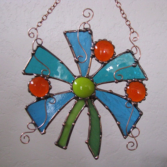 Stained glass and copper Hanging flower sun catcher window art ebsq