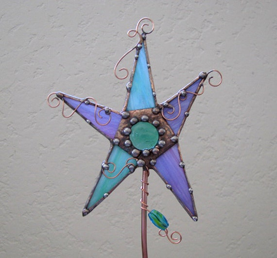 Teal and Purple Magic Wand Stained Glass copper art one-of-a-kind garden stake