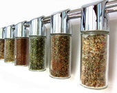 Totemspice chrome spice rack with gourmet rubs and finishing salts. featured in REAL SIMPLE, March 2011. Get cooking on the grill.