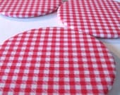 SALE - red  and white gingham magnetic coasters set of four
