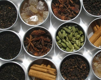DIY chai tea kit with organic and fair trade spices - set of 15 -  a perfect gift to warm up a tea lover.