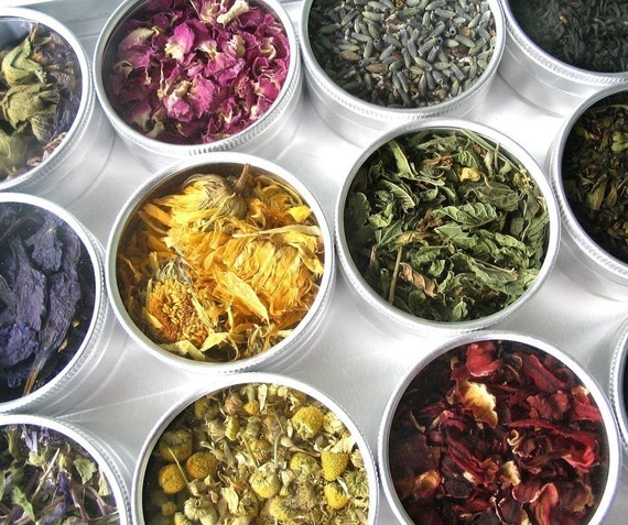 large herbal tea kit in a brushed aluminum box. a beautiful gift for a tea lover.
