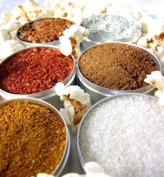 Gourmet popcorn seasonings - 6 tins with spice blends  - no artificial colors or preservatives
