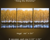 """Extra Large Wall Art Original Painting Landscape Golden Yellow Trees Autumn  - 66"""" x 28"""", ready to hang, """"Along the Shoreline"""""""