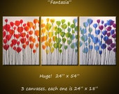 Large wall art / ORIGINAL Rainbow Flowers Painting / Abstract Modern Floral Painting / Extra Big Art / Floral wall decor