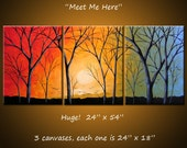 "Extra Large Wall Art Triptych Landscape Original Large Painting Modern Trees ... 24"" x 54""... Meet Me Here by Amy Giacomelli"