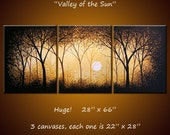 """Extra Large Wall Art Original Triptych Painting Contemporary Landscape Trees Sun ...Over 5 feet across, 66"""" ... Valley of the Sun"""