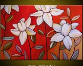 Abstract Floral Acrylic Canvas Wall Art Original Abstract Painting Modern Contemporary Landscape ... 24 x 36 ... Touch of Summer