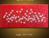 "Art Painting Original Texture Red Large Abstract Modern Contemporary Garden Flowers ... 48"" x 24"" Amy Giacomelli, Together In Scarlet"