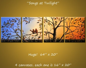 "Original Art Large Birds Painting Modern Trees Huge ... 64"" x 20"" ... Songs at Twilight, by Amy Giacomelli, great wedding gift"